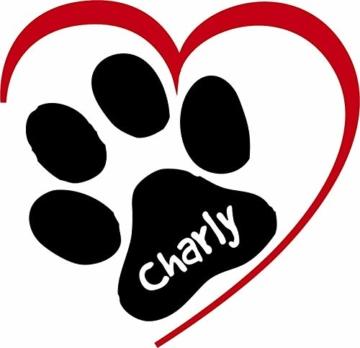Wandtattoo Tier Hunde Pfote mit Herz