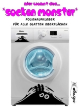 """Wandtattoo Bad Waschmaschinen Aufkleber """"Das Sockenmonster"""""""