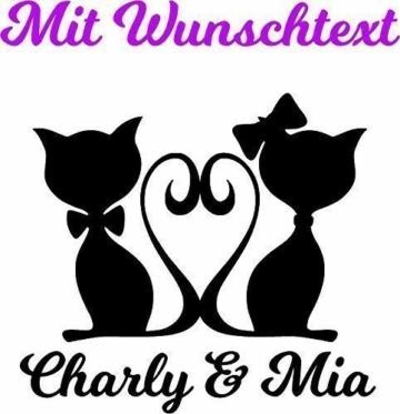 """Wandtattoo Tiere """"Katze Kater und Wunschtext"""""""