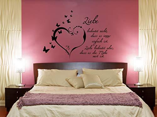 """Wandtattoo Schlafzimmer Spruch """"Liebe bedeutet nicht, dass es immer einfach  ist"""""""