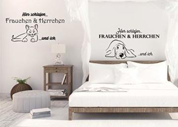 """Wandtattoo Schlafzimmer Tiere """"Hier schlafen FRAUCHEN & HERRCHEN und ICH"""""""