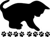 Wandtattoo Tiere Katze 02 mit Pfotenset