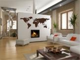 """Wandtattoo Wohnzimmer """"Weltkarte Kontinente"""""""